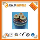 A fita de cobre protegeu o PVC isolado e o cabo de controle flexível de 4 núcleos da bainha