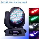 108 PCS 3W RGBW 세척 LED 이동하는 맨 위 빛 LED 세척 이동하는 헤드