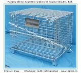 Recipiente de armazenamento de malha metálica empilhável com tampa superior