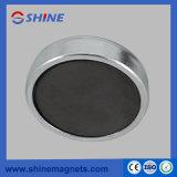 Placage Pot à aimant à base ronde en zinc avec tige filetée intérieure