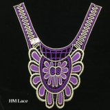 35*38cm広い紫色の絶妙なVeniseカラー花のレースのトリムの襟足の縫うアップリケのクラフトHme912