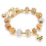 方法宝石類のビードの魅力の金の腕輪のダイヤモンドのブレスレット