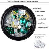 Lookathot 1 Nagelrhinestone-Diamant-schillerndes Raupe-Goldentsteint metallische Schmucksache-Edelsteine Flatback des Kasten-3D Kristallab Nagel-Kunst (EN001)