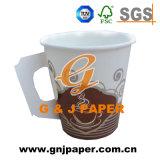 Colores impresos desechables de papel de pared simple taza con asa