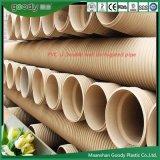 Tubo acanalado PVC perforado blanco excelente de la resistencia a la corrosión para la ingeniería municipal y el edificio