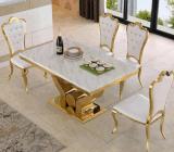 Acier inoxydable d'or de grossiste dinant les meubles/premier Tableau dinant de marbre blanc avec les présidences royales de dos de tête