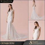 Heißes reizvolles weißes Spitzeapplique-Nixe-Hochzeits-Kleid des Sequin-2017