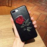 Nuevo caso de la cubierta del teléfono de las flores de Rose del bordado 3D para el iPhone 7 más