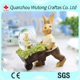 Chiffre fait sur commande globe de lapin de Pâques de résine de décoration de vacances de promotion de neige