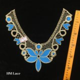 collare elegante del merletto del merletto blu del Neckline del ricamo dell'oro di 30*28cm per gli accessori per il vestiario Hme927