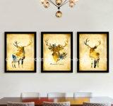 Cuadro de tres ciervos del oro con el marco para la decoración