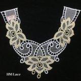 merletto Hme962 del Neckline ricamato oro del collare del merletto del poliestere del fiore di colore rosso di 35*30cm