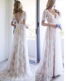 Мантии V-Шеи шнурка Bridal краснеют обнажённый a - линия платья венчания Z8013