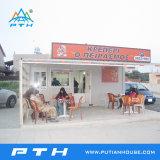 Casa prefabricada del envase para la cafetería con el bajo costo modificado para requisitos particulares
