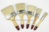 Escova de pintura de madeira envernizada do punho com ponta vermelha