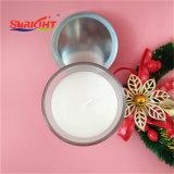 Candela di vetro del vaso con il coperchio del metallo e la candela bianca