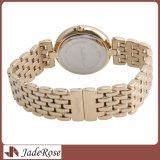 Reloj de oro impermeable, relojes del cuarzo de las mujeres, señora reloj del acero inoxidable