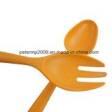 Color Naranja biodegradables la horquilla de fibra de bambú para niños