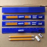 Doble cara 30cm Regla recta con lápices y sacapuntas y goma de borrar por Marca OEM