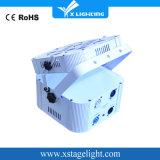 높은 광도 백색 까만 주거 편평한 12X18W RGBWA UV 6in1 무선 배터리 전원을 사용하는 LED 동위 빛