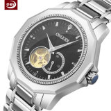 Grande montre-bracelet mécanique imperméable à l'eau d'acier inoxydable de cadran