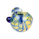 Glasrohr-Glaswasser-Rohr-Tabak-blaues bernsteinfarbiges Glashandrohr-Glaslöffel-Rohr