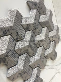 mattonelle di mosaico di marmo grigio scuro del reticolo di 3D Chevron per la parete Deisgn