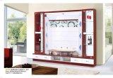 يعيش غرفة [أو] شكل خشبيّة تلفزيون خزانة مع رصيف صخري زجاجيّة