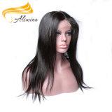 Longues pleines perruques Paypal de lacet des cheveux humains 24inch