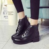 самый последний шнурок PU кожаный великобританский ретро с ботинками лодыжки зимы толщиной пятки выдвиженческими для женщин