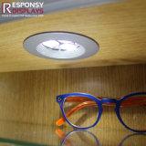 Coffret d'étalage en bois de mur en verre de systeme optique de contre- type fait sur commande