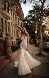 아플리케 저녁 Prom 당 신부 드레스를 구슬로 장식하는 끈이 없는 꽃