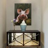 壁の装飾のためのハンドメイドのキャンバスの農場の芸術のピンクのブタの油絵