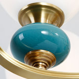 Lampadario a bracci di rame di vetro del salone della ceramica semplice European-Style della decorazione retro