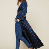 Elegante diseño francés mujer vestimenta informal Polka Dot vestido largo