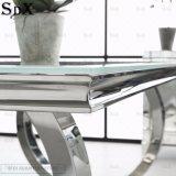 Vida vida Hote mesa de comedor de cristal Venta del bastidor de acero inoxidable