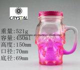 Farbiges Glasschädel-Gesichts-trinkendes Becher-Maurer-Glas mit Griff und Kappe