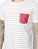 Les hommes faits sur commande court- le T-shirt barré par chemise avec la poche