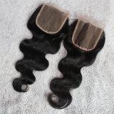 Chiusura brasiliana dei capelli umani di stile libero dell'onda del corpo 4*4