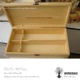 Hongdaoは自然なカラーマツ木のワイン二重びんの_Eのための包装ボックスワインのギフト用の箱をカスタマイズした