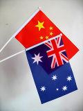Pequenas bandeiras. Banner de publicidade. Actividades do pavilhão