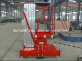 Elevación de aluminio de la plataforma del solo mástil hidráulico de aluminio