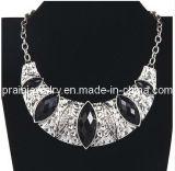 Joyas de verano/ 2013 chapado en aleación de zinc con muebles antiguos de plata negro Crystal Estrás Luna Collar (PN-091)