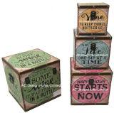 S/4装飾の骨董品型のクリーム及び砂糖のコーヒーデザイン正方形の印刷PU Leather/MDFの木の記憶のトランクボックス
