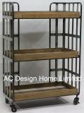 3 Уровень старинной Vintage декоративные деревянные и металлические полки для дома тележки