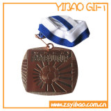 Medalha de execução de esmalte personalizado com cordão impresso de transferência (YB-MD-05)