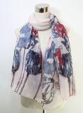 Écharpe en soie de ressort de Madame Flower Printed Polyester Voile (YKY1050)