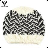 Moda Herringbone Jacquard Pattern Scarf Beanie Thick Knit Set