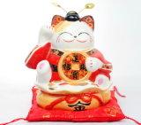 Cadeau de Noël nouvelle arrivée mignon unique conçu Maneki Neko Case de l'argent en céramique