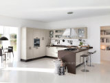 Gabinete de cozinha branco da madeira contínua de projeto modular do abanador